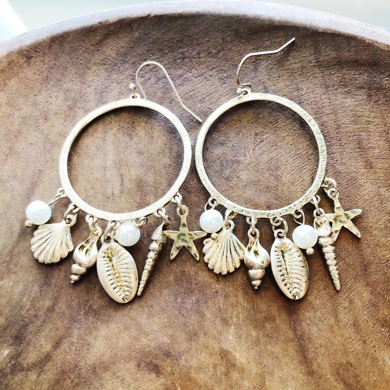 Shell Hoops, Gold, Brand New