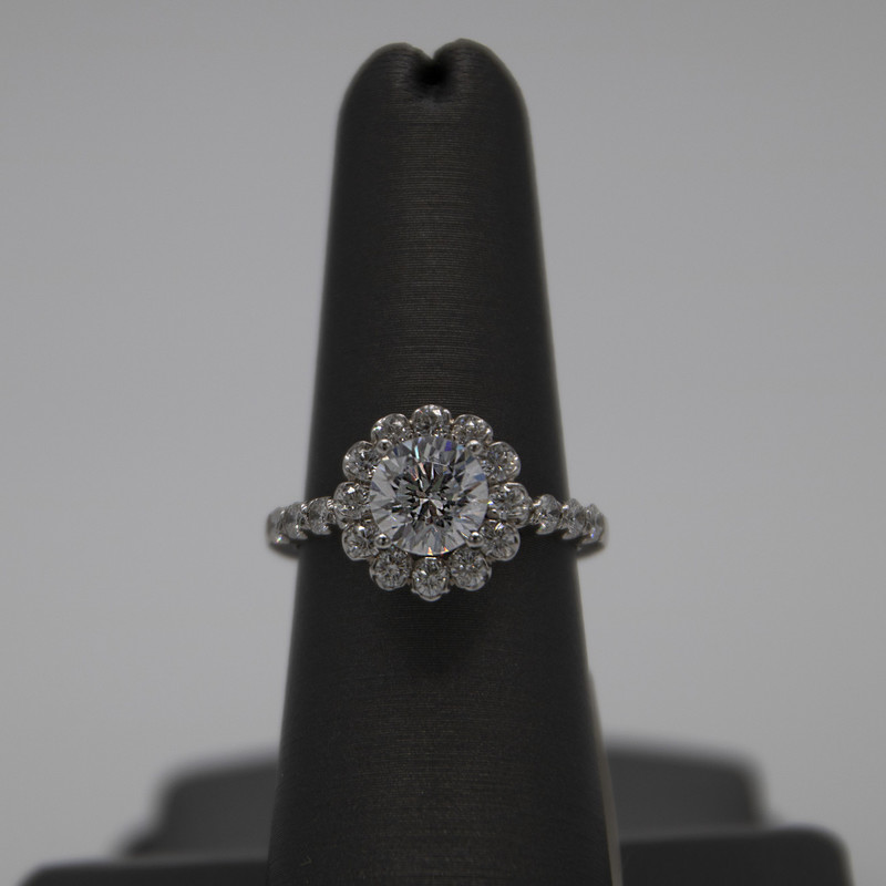 14K White Gold Setting 0.75Carat diamonds set with a 7mm CZ center, can be replaced with diamond, ruby,sapphire, or moissanite for additional charge<br /> <br /> #setting #engagement #wedding #halo #diamond #ring #whitegold #NEW