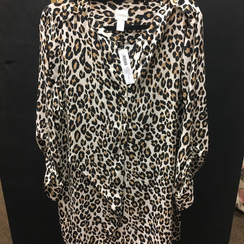 Cheetahprint Tunic Blouse, BlkTan, Size: 2