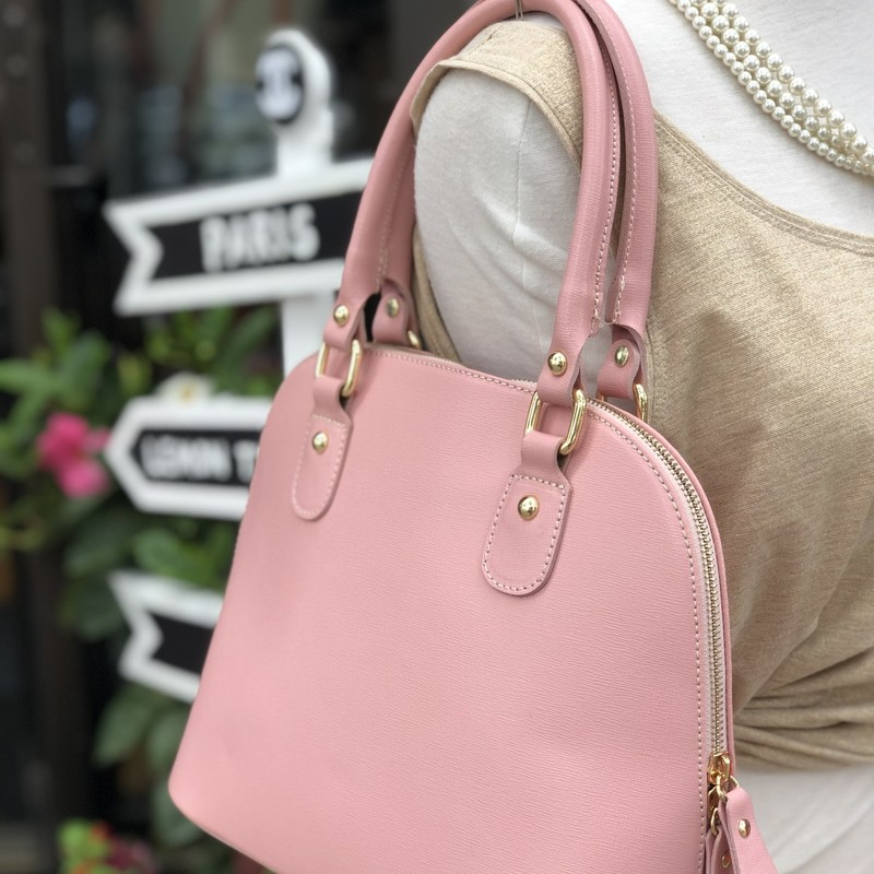 Leather Pink Crossbody, Pink, Size: OS<br /> shape is like an Alma BB