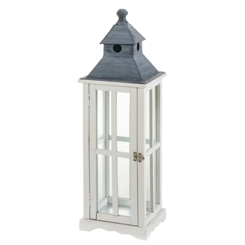 "25"" x 8"" white wood lantern with grey metal top. Glass around all panels of the lantern. Clasp for easy opening and closing on the front."