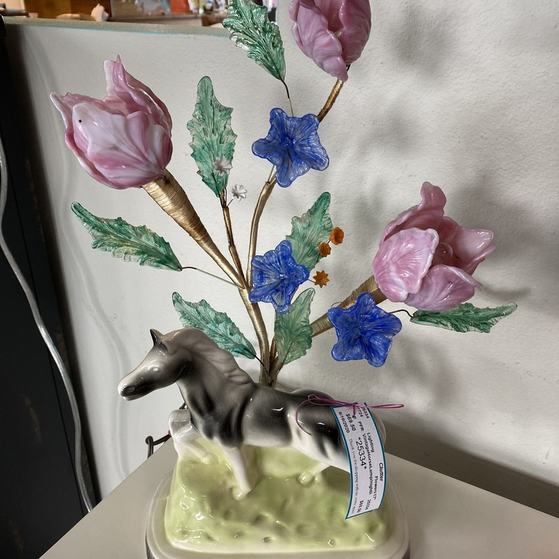 Vintage Horse Lamp w/Night light, Flowers, Size: 17""