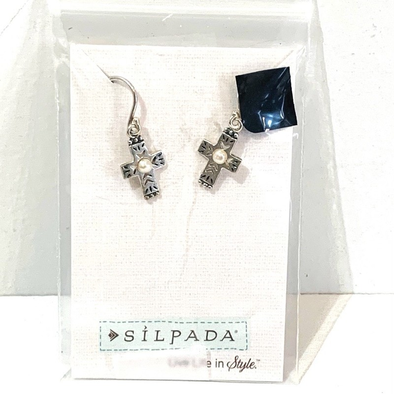 Silpada Retired Earrings, Silver, Western markings with tiny pearls at the center .Size: Very small dangles NWpackaging.