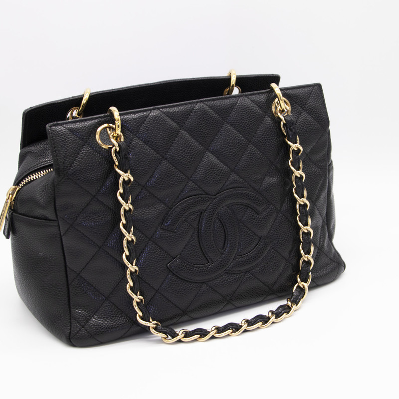 Chanel Sm Shopping Tote, Black, Size: LKHH<br /> <br /> Chanel Small Shopping Tote Bag Quilted Black Caviar with Gold Hardware, shoulder strap and has a top zipper closure on top.<br /> <br /> BRAND<br /> Chanel<br /> <br /> BAG MODEL<br /> Shopping Bag<br /> <br /> BAG TYPE<br /> Shoulder, Tote<br /> <br /> MATERIAL<br /> Caviar Leather<br /> <br /> HARDWARE<br /> Gold<br /> <br /> COLOR<br /> Black<br /> <br /> BAG SIZE<br /> Small<br /> <br /> YEAR MADE<br /> 2005<br /> <br /> BAG FASTENING & CLOSURE<br /> Zipper<br /> <br /> CONDITION<br /> Very Good<br /> <br /> WEIGHT	16 oz<br /> <br />  #Handbags #Shoulder Bags #Totes<br />  #Authentic Chanel #TOTE #BAG