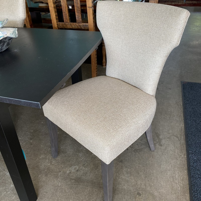Crate & Barrel Dining Chairs, Sasha,  Oatmeal Upholstery, Wood Legs, Set of 4