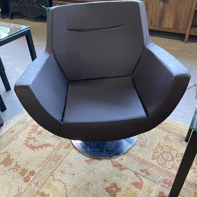 Black Swivel Chair, Silver Base, Faux Leather
