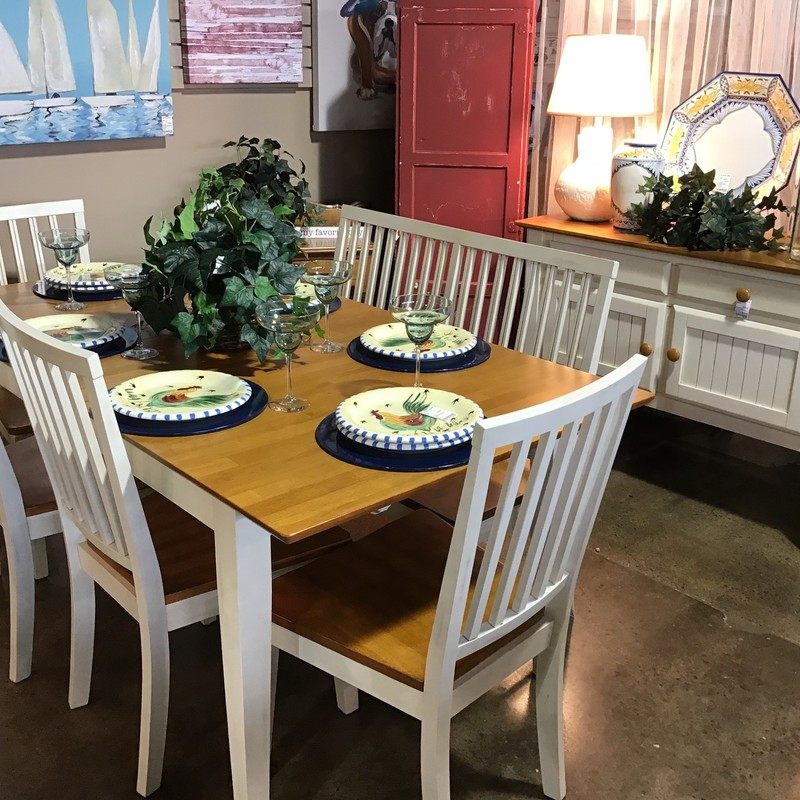 "This beautiful two-tone table & server set is perfect for any dining space! The table comes with 4 chairs and a bench and has a 12"" internal leaf. The server has 2 drawers and cabinet doors for all of your storage needs! The set is a cream and natural wood combination and would look great in any home!<br /> Table Dimensions without leaf are 54"" x 36"" x 30""<br /> Table Dimensions with leaf are 66"" x 36"" x 30""<br /> Server Dimensions are 48"" x 20"" x 33"""