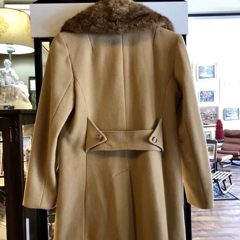 Vintage Camel Wool Coat with Fur Collar, c.1970s. Size: Medium.
