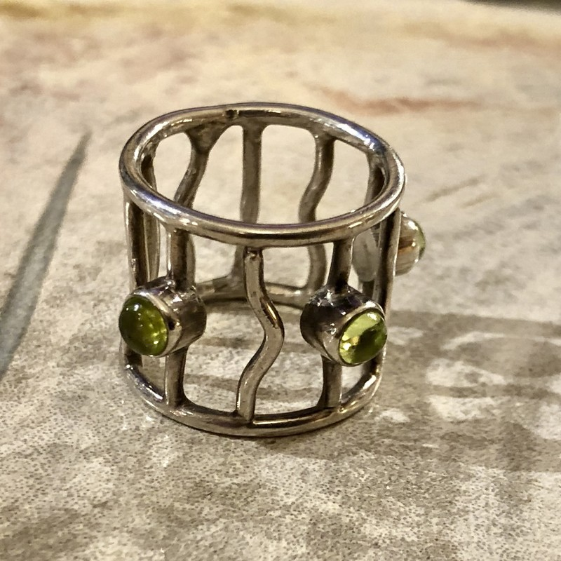 Three green stone ring