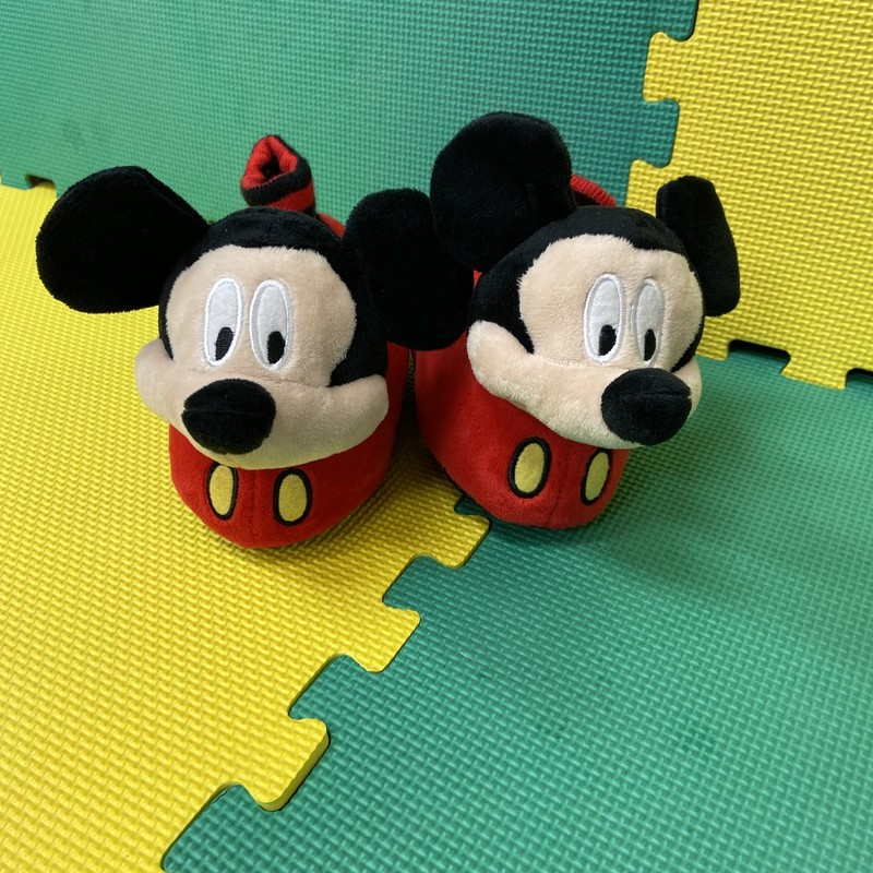 Mickey Slippers, Red, Size: 9-10<br /> Condition: Excellent