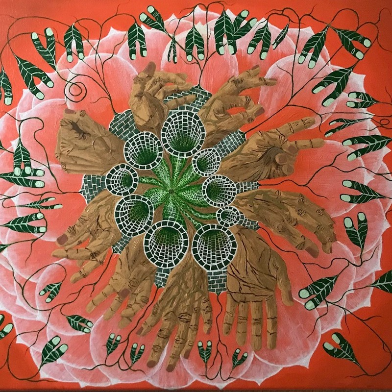 "Title: Flower Of Hands, Artist: Paul J. Francois, Medium: Acrylic, Size: 18""x 24\"" Gallery Wrap"