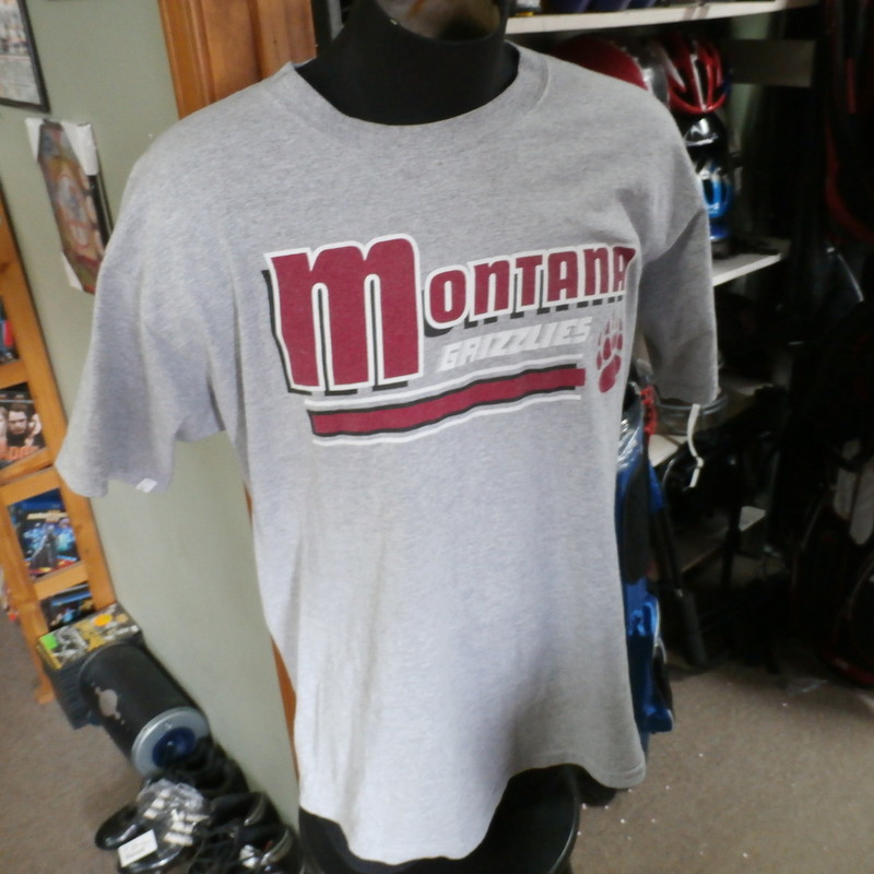 "Montana Grizzlies Men's T shirt gray size Large cotton blend #20346<br /> Rating: (see below) 4 - Fair Condition<br /> Team: Montana Grizzlies<br /> Player:  Team<br /> Brand: Greatshirts<br /> Size : Large- Men's (Chest: 21.5"" ; Length: 29"" ) armpit to armpit & shoulder to hem<br /> Color: Gray<br /> Style: T Shirt; screen pressed<br /> Material: 90% Cotton; 10% Polyester<br /> Condition: 4 - Fair Condition - wrinkled; light pilling and fuzz; stretched from wear and wash; neck is stretched out from use; the fabric is faded and discolored; logo has slight cracking and wearing; 2 tiny small brown stains at the front of the neck; has a worn look to it<br /> Item #: 20346<br /> Shipping: FREE"