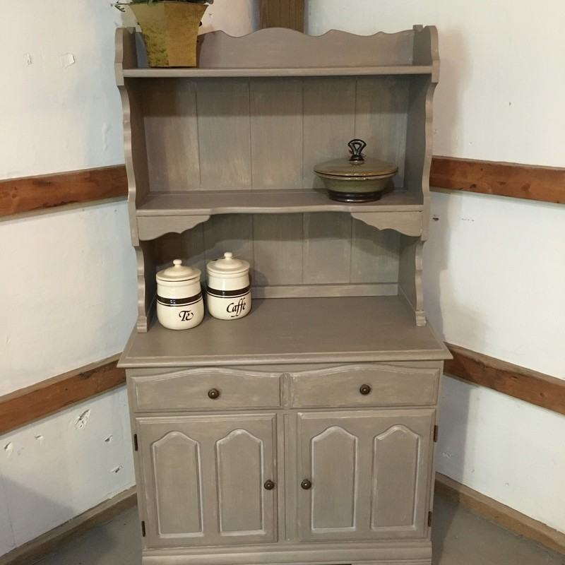 Handpainted hutch, perfect with any decor!  Lots of storage plus display shelves.<br /> Handpainted with Fusion Mineral Paint using Algonquin over Sterling<br /> 34L x 61H x 17.5W<br /> This piece is available for sale at the Antique Loft at Trax Farms.  Open 7 days/week 10-5<br /> <br /> Pickup only; this item not available for shipping.<br /> 230+16.10 sales tax upon purchase.