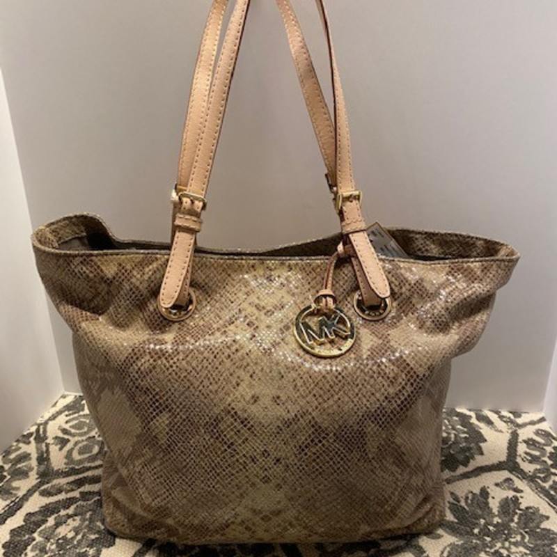 "Michael Kors Reptile Leather Handbag<br /> Tan Brown Size 16"" x 11""H"