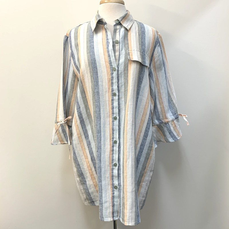 Yest Linen Stripe Bell Sleeve Tunic<br /> Multicolor<br /> Size: 14