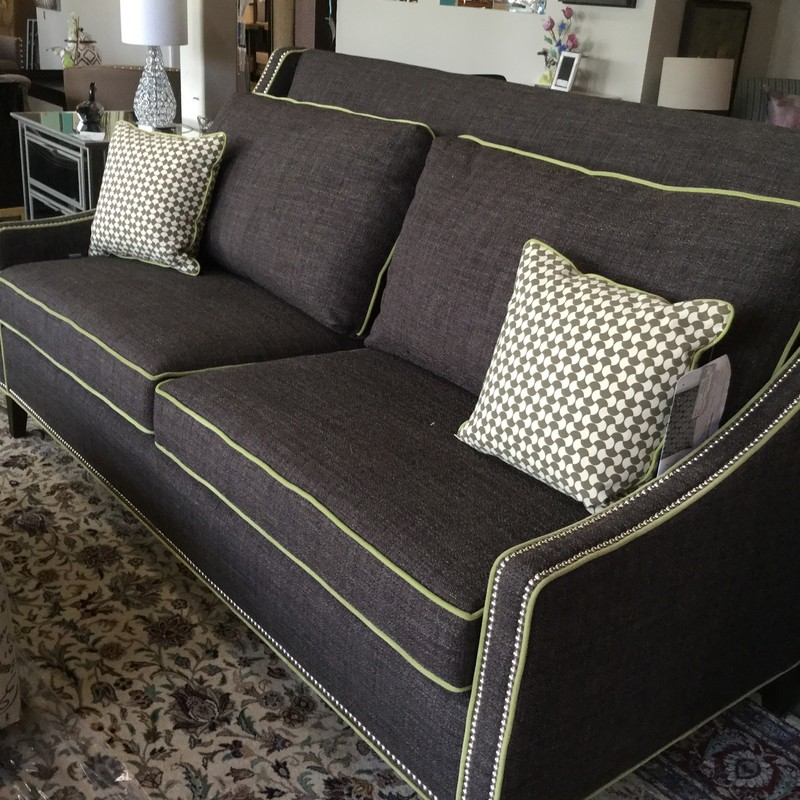 "Custom Grey Sofa, Lime Trim, Size: 75"" long"