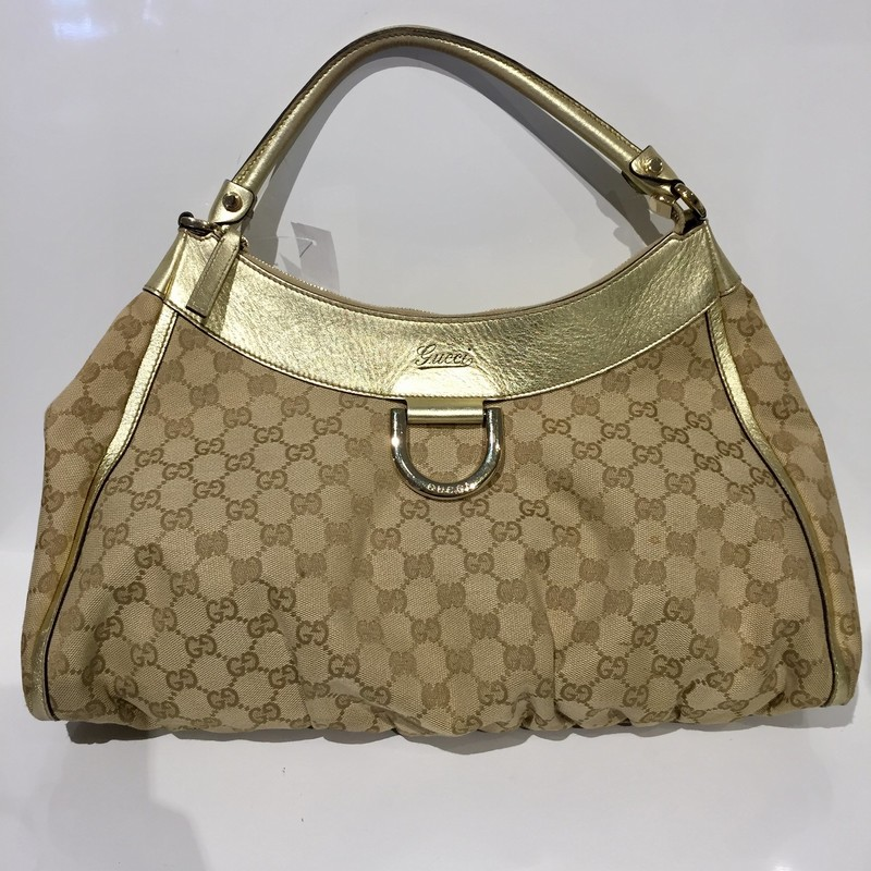 Gucci Gold Canvas and Leather Handbag in GG Monogram