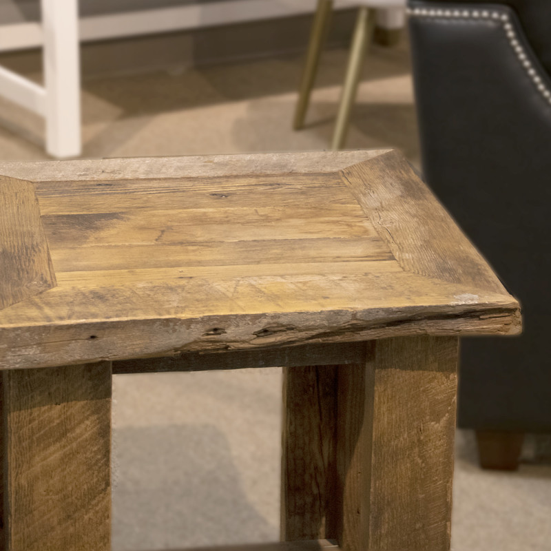 Rustic End Table, None, Size: BBK