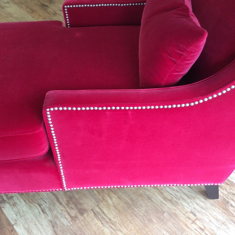 OOOOH LA LA!  If you love candy apple red, this may be just the piece for you!! Upholstered entirely in red velveteen, this cozy chaise is ready to make a statement in your home. The seat cushion is removable, for easy cleaning, there is a lumbar pillow, and there are hundreds of nailhead accents, as well. Only $495!