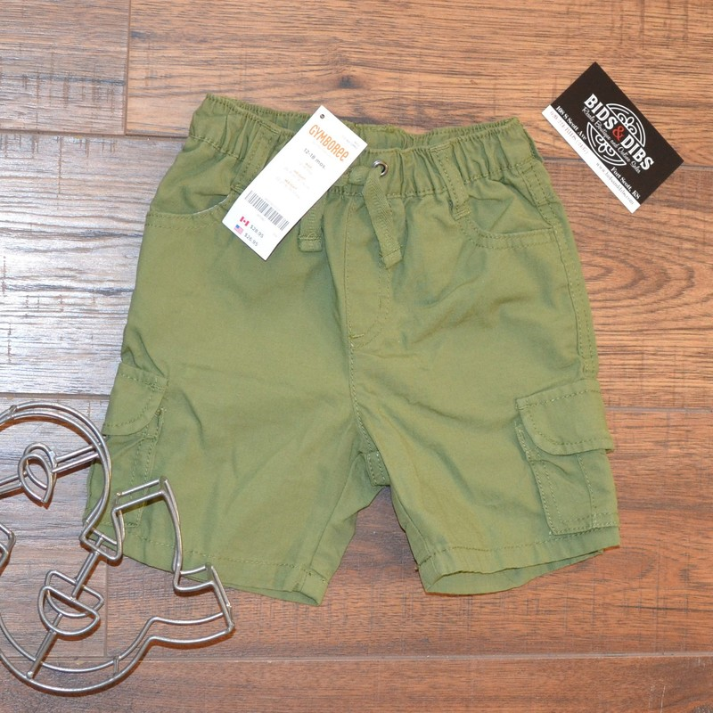 -New with tags!<br /> -Gymboree<br /> -Army green<br /> -Drawstring in the front<br /> -Elastic waist<br /> -Size 12-18 months