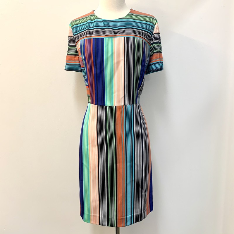 Diane Furstenberg Dress<br /> Silk & Viscose<br /> Multi-colored stripes<br /> Size: 14