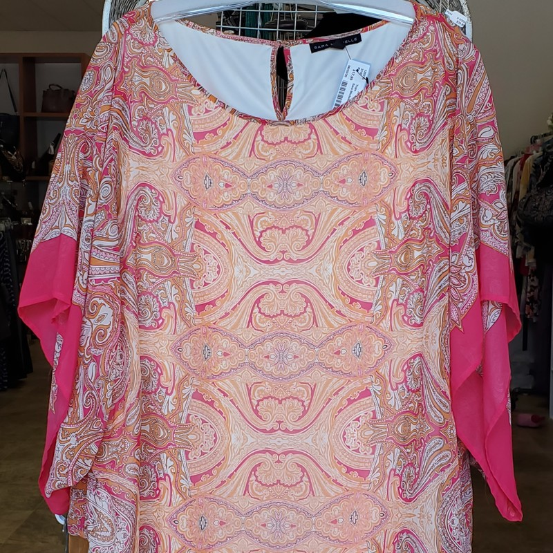 Sara Michelle Top<br /> Peach and Pink<br /> 2X