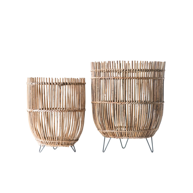 "17""Round x 21""H Arurog baskets with metal feet<br /> <br /> This item cannot be shipped. Store pick up only."