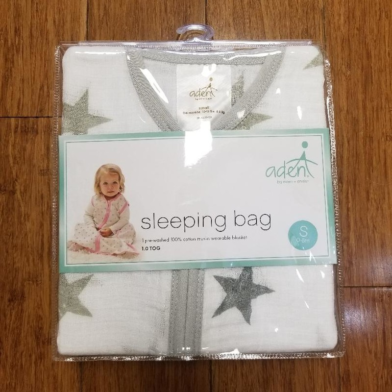 NEW Aden + Anais Sleeping Bag<br /> 100% Cotton muslin wearable blanket<br /> Gender neutral white & gray stars<br />  Size: 0-6m<br /> More info found online