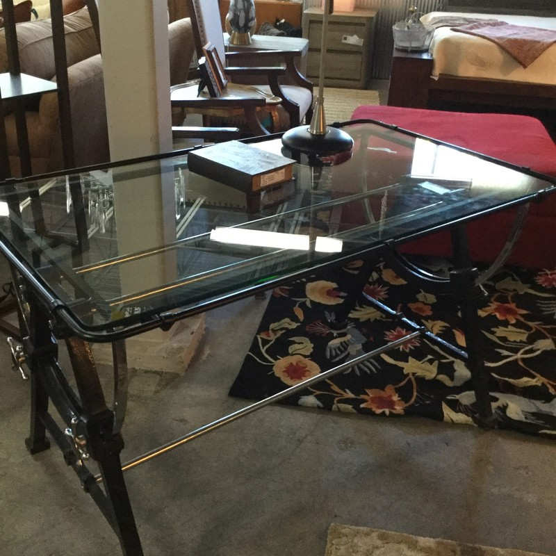 "Desk with Tilting Top, Glass Top, Iron Base, 2 Available, Size: 50""X29""X30"""