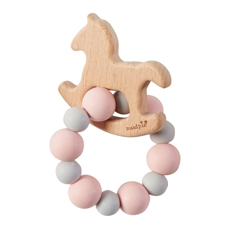 - Natural wood, animal shaped teether<br /> - Silicone bauble loop design<br /> - Rinses clean with soap and water