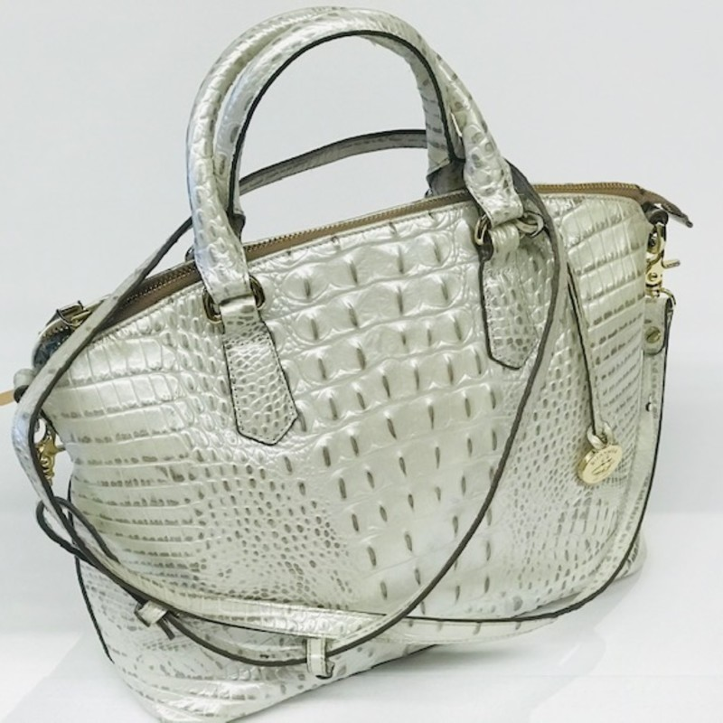 "Brahmin Handbag<br />  Leather Textured, White with brass<br /> , Size: 14""x11"""