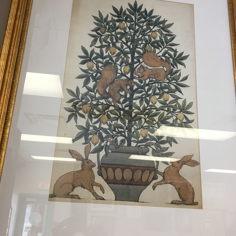 Squirrel/Lemon Tree Print, Gold, Size: 28x38