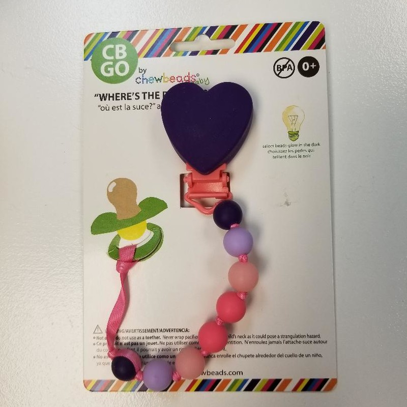 NEW Chewbeads Paci Clip Chew<br /> Purple heart, multi beads<br /> Select beads glow-in-the-dark<br /> Easy clip-on attach<br /> BPA free<br /> soap & water clean