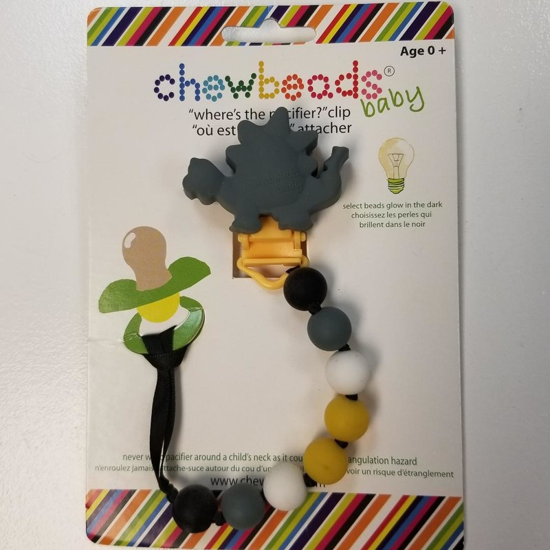 NEW Chewbeads Paci Clip Chew<br /> Gray dinosaur, multi beads<br /> Select beads glow-in-the-dark<br /> Easy clip-on attach<br /> BPA free<br /> soap & water clean