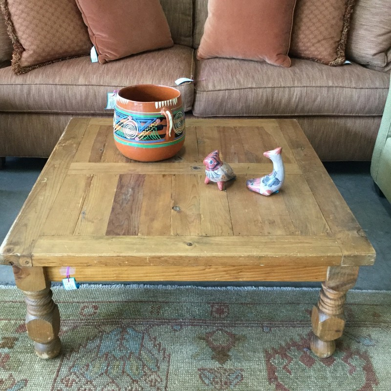 "Rustic Mexican Coffee Table, Oak Wood, Size: 36""x36"""