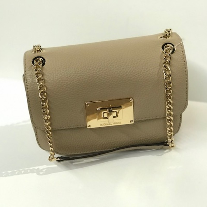 "Michael Kors Square Purse with Gold Chain,<br /> Taupe leather Gold Hardware  Size: 9"" X 6"" H"