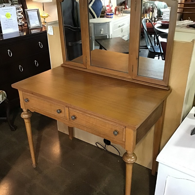 "Are you looking for that perfect vintage vanity for your bedroom? Check out this beautiful vanity with tri-fold mirror! Great piece to add to any bedroom!<br /> Dimensions are 38"" x 21"" x 55"""