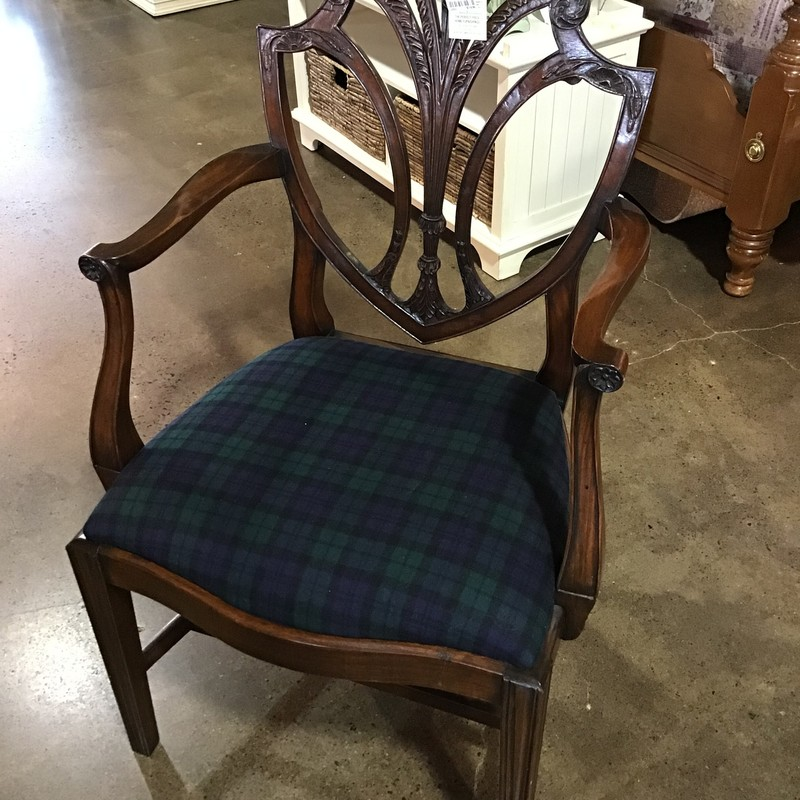This formal shield-back chair has a plaid upholstered seat. The beautiful green & blue plaid would be perfect in any setting! This chair could be used in so many rooms in your home!