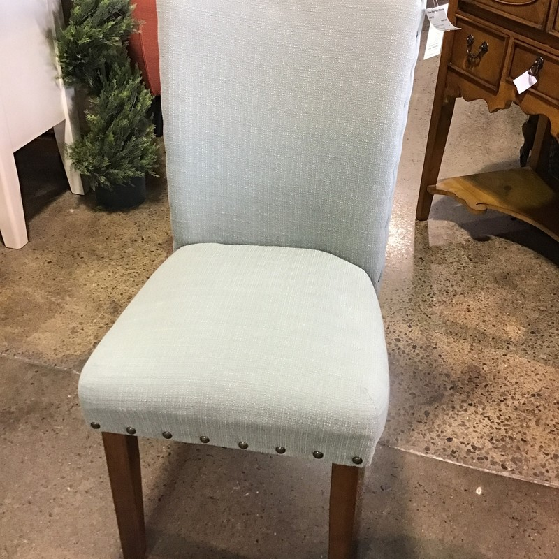 "Are you looking for a new desk chair, accent chair or bedroom side chair? This pretty parson's chair is upholstered in a beautiful minty fabric! Would work in just about any setting!<br /> Dimensions are 20"" x 24"" x 28"""