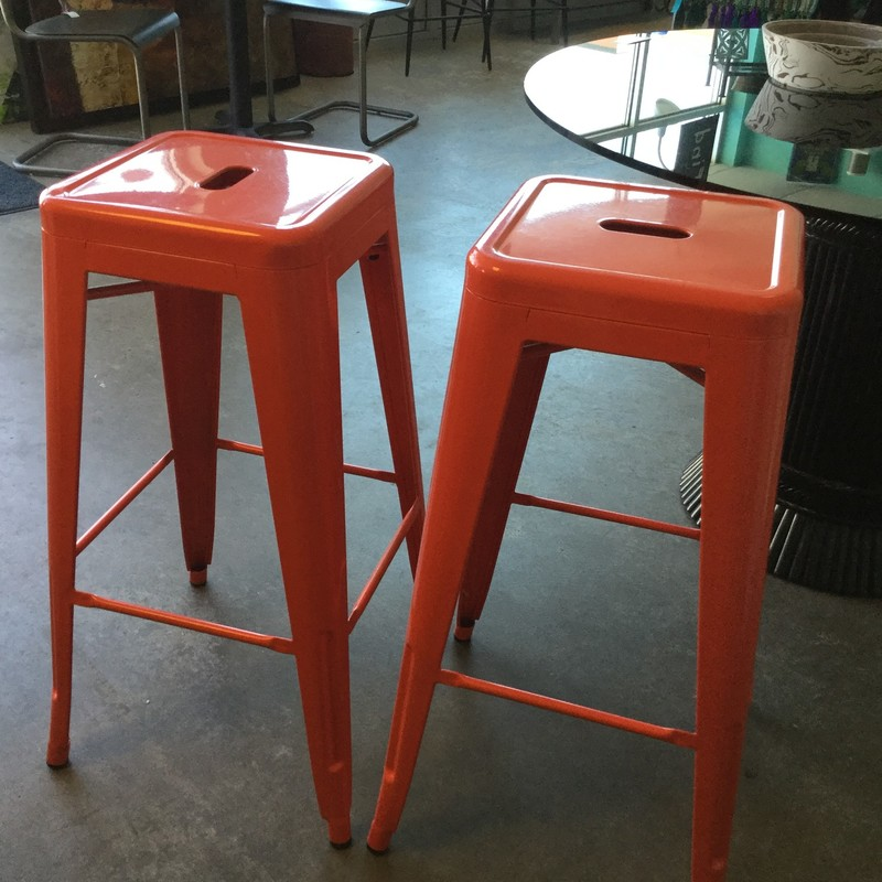 Metal Backless Stools, Red, Size: 30""