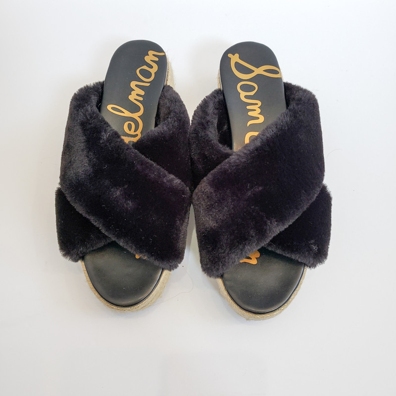 Sam Edelman<br /> Black Fur platform sandals<br /> Size 8