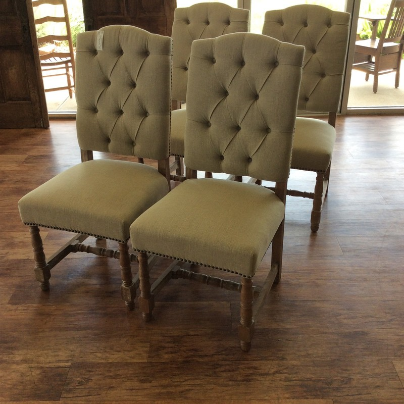 BARGAIN ALERT!!!! This set of 4 chairs is very nice. They are solid wood with a painted driftwood finish. The taupe linen upholstery is both cozy and in excellent condition. The chair backs are button tufted, and the back of the backs is burlap! There are lots of nailhead accents, as well. ONLY $365 for all 4!