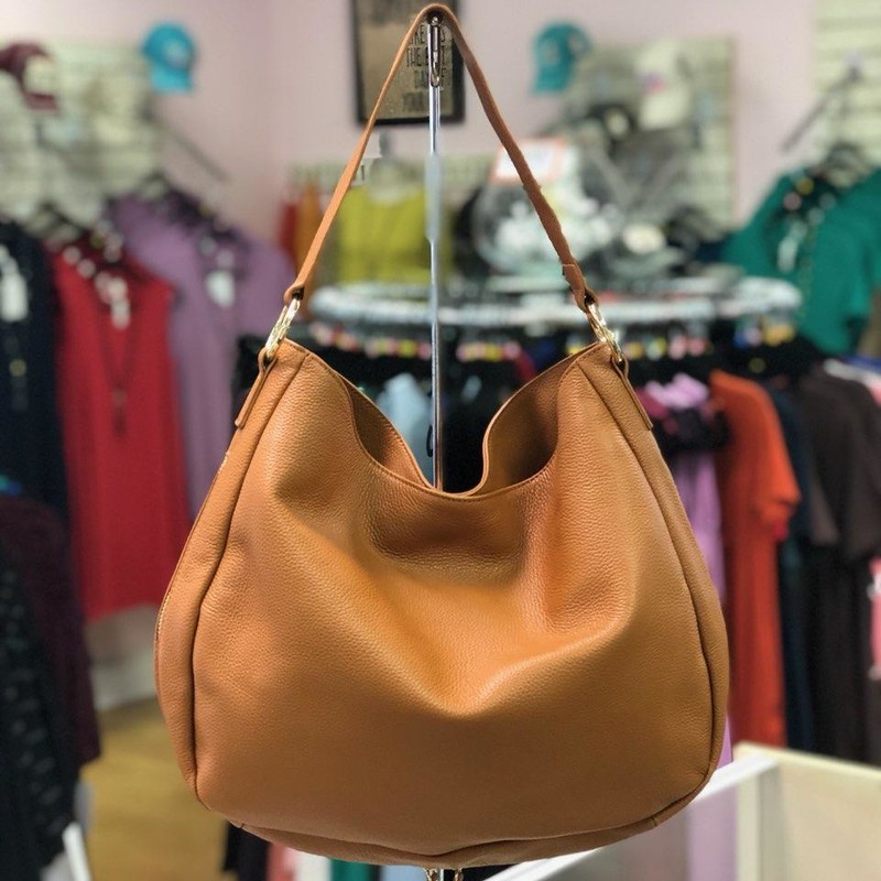 "LAGGO, Brown, Size: Shoulder<br /> Leather Hobo with Front Zipper Pocket<br /> Magnetic Closure<br /> Fabric lining<br /> Zipper pocket<br /> Dimensions:<br /> H : 12""<br /> W :14""<br /> D: 3""<br /> retails for :$445.00 (currently available on LAGGO website)<br /> This bag is preowned but was never used stated by the Consignor.  No marks, scratches or stains.<br /> Imported"