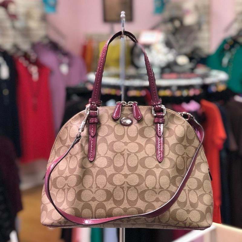"COACH, TanMagt, Size: Handle<br /> PEYTON SIGNATURE CORA DOMED SATCHEL (COACH F24606)<br /> SILVER/KHAKI/PLUM<br /> Signature coated canvas with patent leather trim<br /> Inside zip, cell phone and multifunction pockets<br /> Zip-top closure, fabric lining<br /> Outside open pocket<br /> Handles with 5 1/4"" drop<br /> Longer strap for shoulder or crossbody wear<br /> 12 1/2"" (L) x 9"" (H) x 5 1/2"" (W)<br /> This is a signature product<br /> Retails for $136.00"
