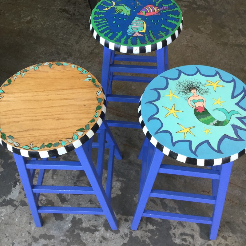 "Painted Counter Stools, Set Of 3, Size: 26.5"" Seat"