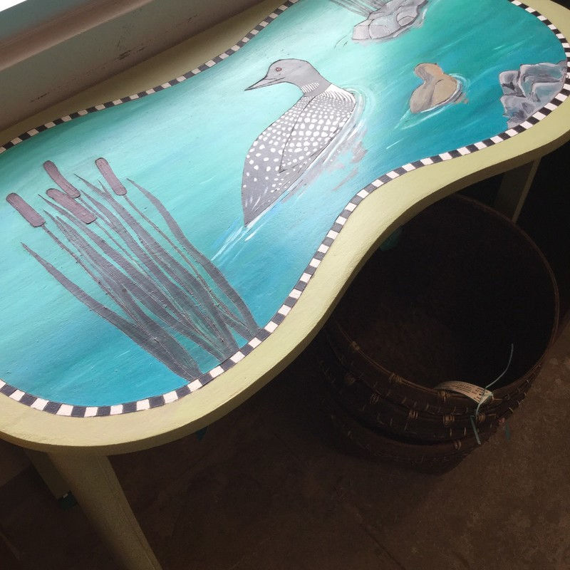 "Painted Desk, Loon, Size: 35""X17""X30"""