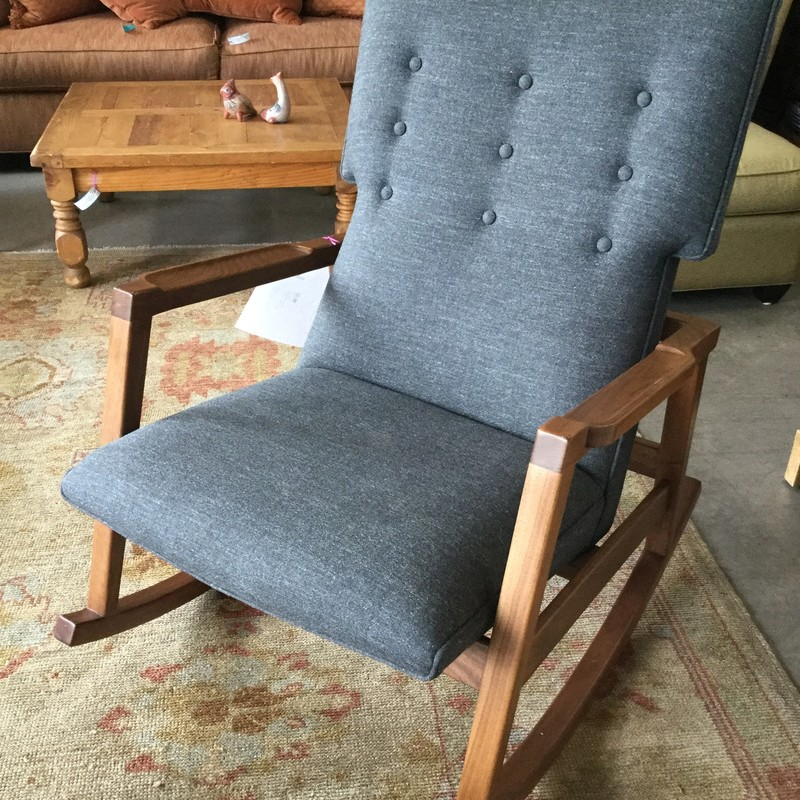 DWR Risom Rocker, Grey, Wood Base & Arms