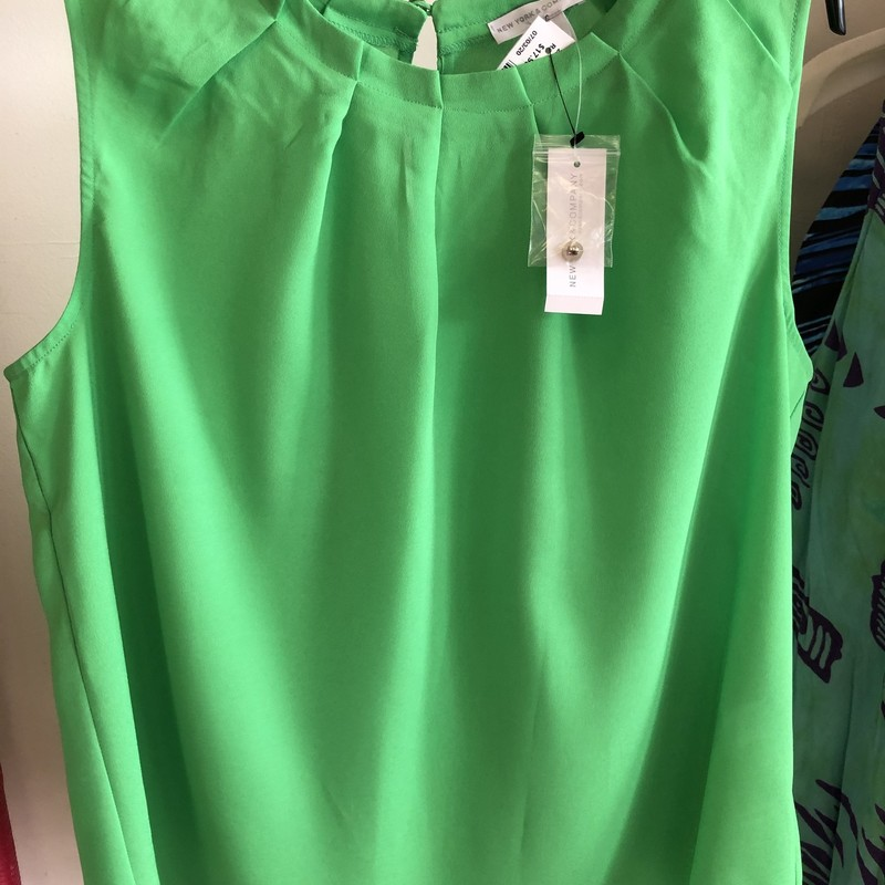 New York & Co.  NWT Limeade green.  Pleated neckline.  Retail $36.95.  Up & Down price $17.99