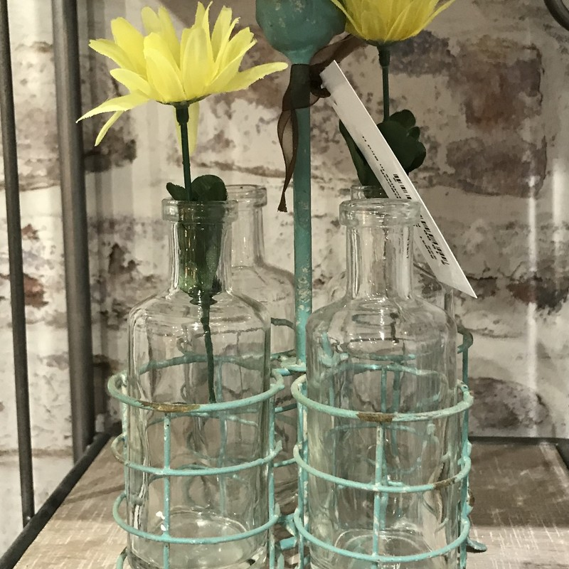 4 GLASS BOTTLES IN METAL BLUE BIRD HOLDER<br /> Presented by Upscale Resale