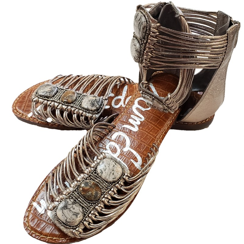 NEW Sam Edelman Flat Sandal<br /> Silver, Size: 9.5<br /> Leather Upper<br /> Bead/Stone Detail<br /> NEW Without box